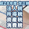 平成28年度税制改正 法人税・所得税・資産税・消費税